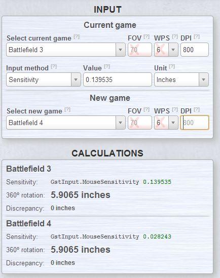Battlefield Maus Einstellungen - Mouse Sensitivity berechnen