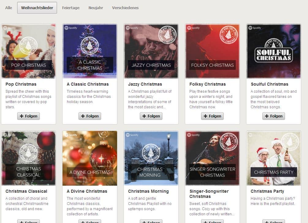 Weihnachtslieder Spotify