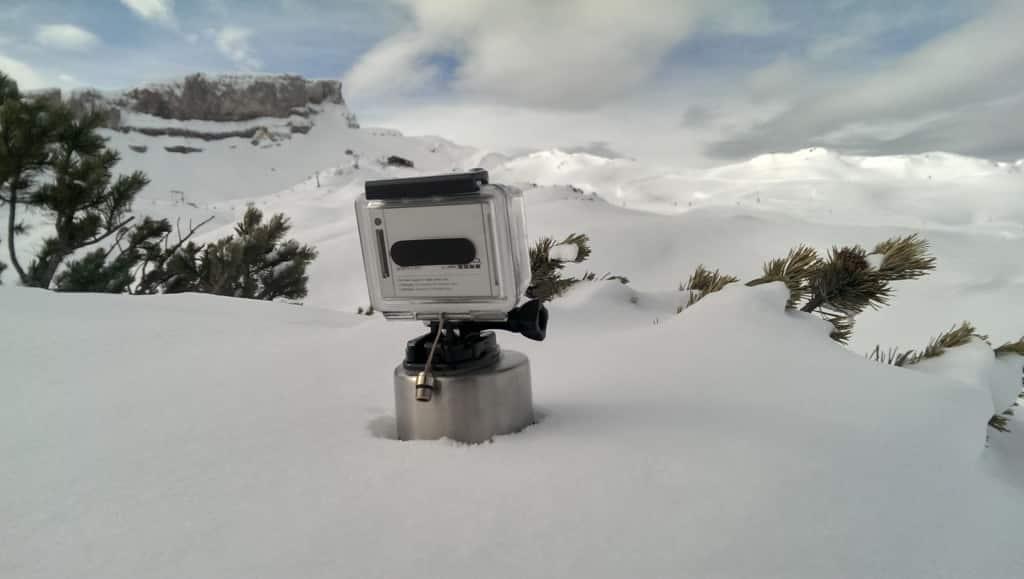 GoPro mit Eieruhr auf der Piste