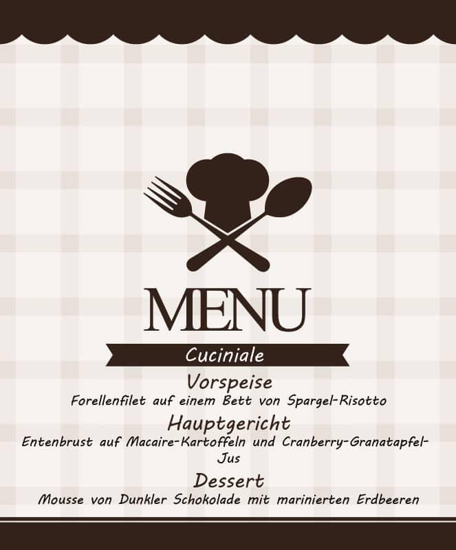 Menü-Karte des Abends