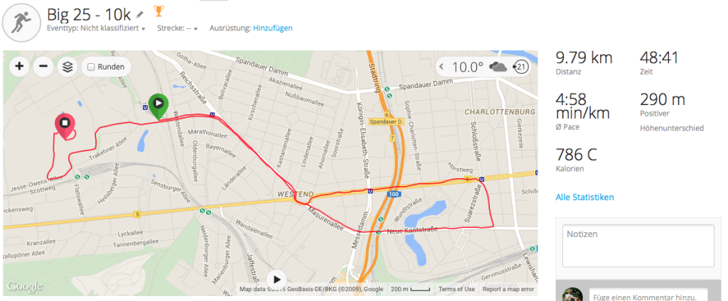 Laufstrecke Big 25 - 10K Lauf