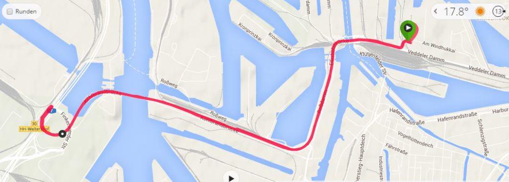 Köhlbrandbrückenlauf 2015 Strecke